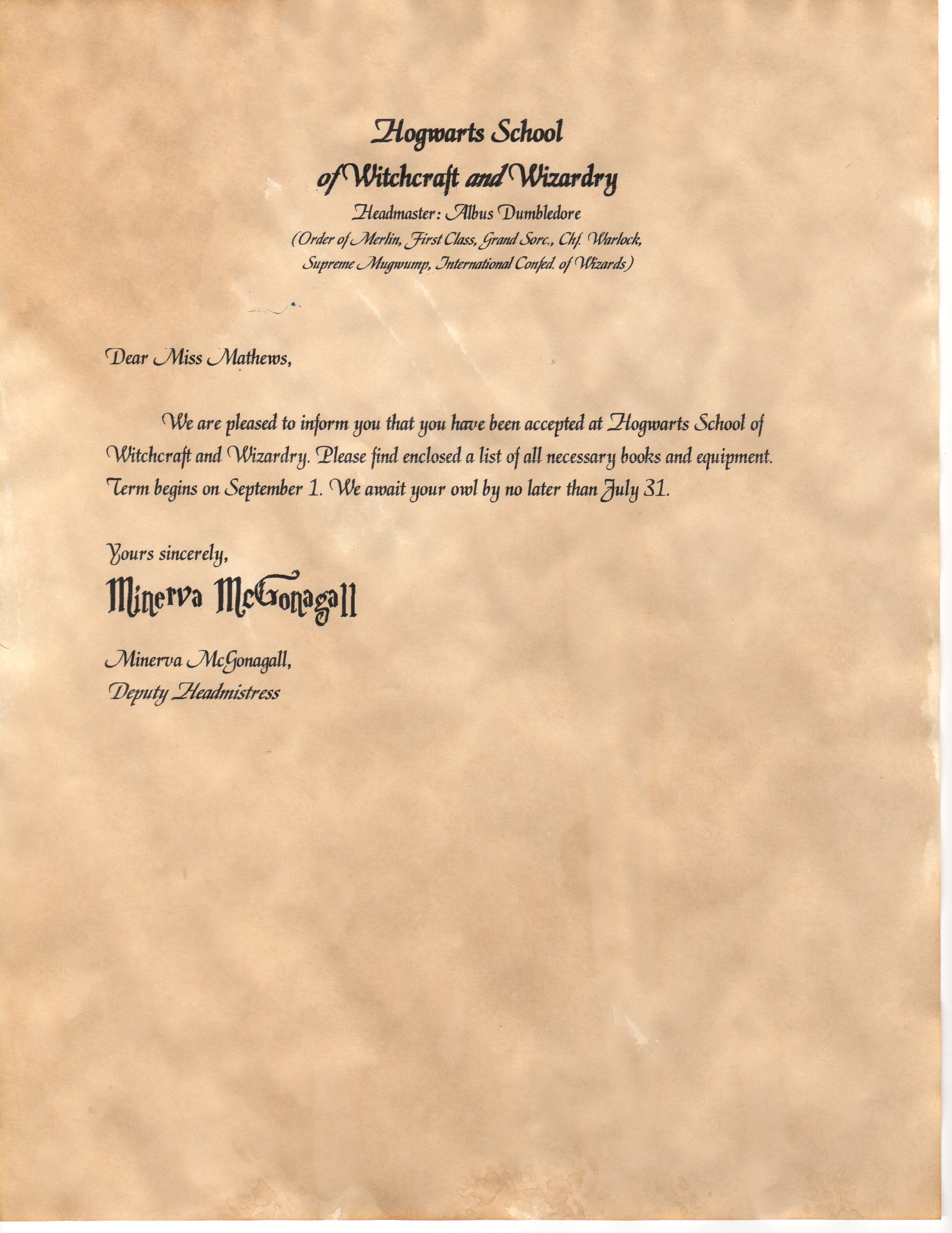 photograph regarding Hogwarts Acceptance Letter Envelope Template Printable referred to as Hogwarts Level of popularity Letter Template cyberuse